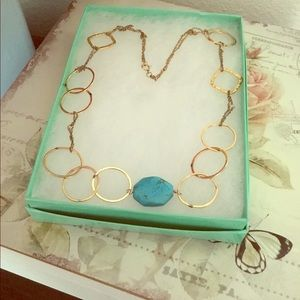 Gold Plated Necklace with Turquoise